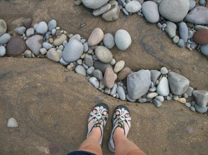 NB11 sandals and rocks