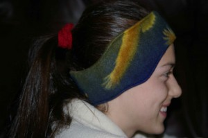 polar fleece ear warmer side view modeled by daughter