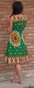heirloom African border print fabric dress back view shows flare more