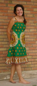 Me in the African border print dress, Butterick pattern 4998