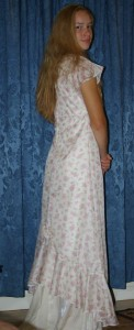 heirloom silk dress back view (out of print Simplicity pattern 5674)