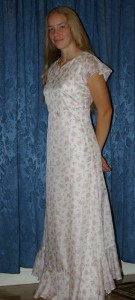 heirloom silk dress front view ( out of print Simplicity pattern 5674 )