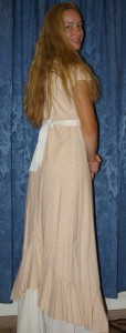 pre-heirloom fabric trial dress back view (Simplicity pattern 5674)