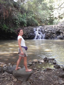 One of the many waterfalls on the Twin Falls, Maui, trails; no, I don't want to go swimming in it.