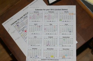 color coded calendar marking for at a glance planning