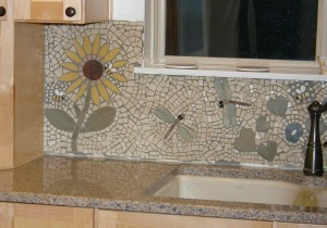 bees and dragonflies on the tile mosaic cut and put up by my husband