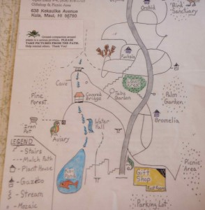 laminated map of Kula Gardens