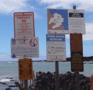 warning signs at La Perouse Bay trail head