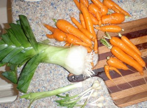 cleaned up leek, carrots, and baby garlic from the fall garden