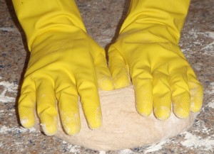 I always knead bread with rubber gloves, because the yeast makes my hands itch!