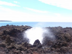 blow hole through lava tunnel early in the hike