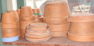 aesthetically pleasing stacks of useful clay pots