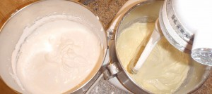 egg whites with powdered sugar on the left, egg yolks with powdered sugar on the right