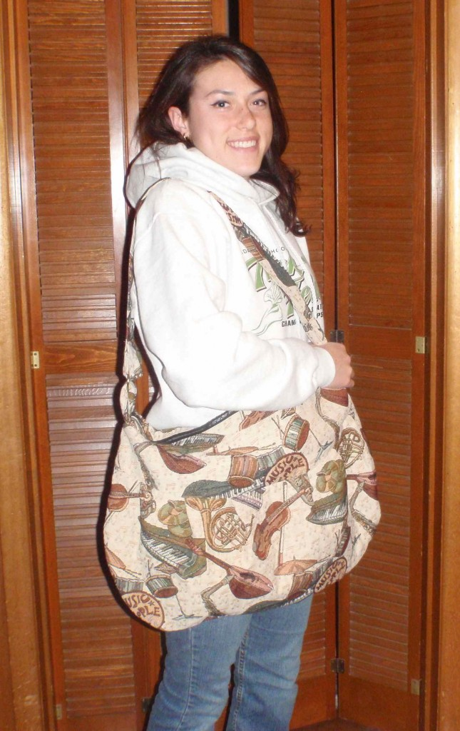 college student happy with her new urban carryall bag