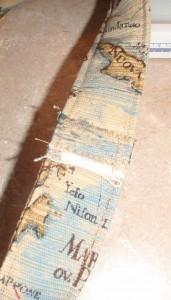 flat fell seam of padded strap