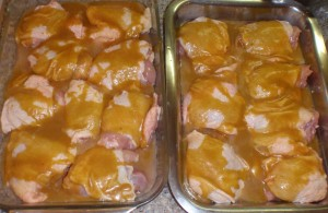 dribble sauce evenly over chicken thighs