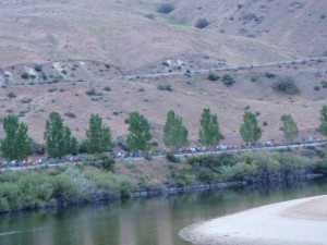 Greg near the starting point at Lucky Peak takes a photo of the race crowd along the Boise River