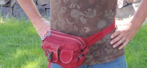 a medium to small hip bag lets me keep a few important items with me around my acre garden