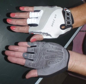 My new bicycle riding gloves, purchased from Rolling H Cycles in Nampa, Idaho.