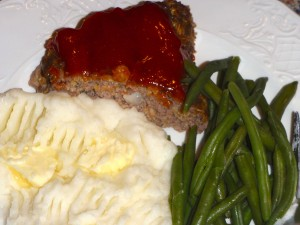 meatloaf, mashed potatoes, and green beans