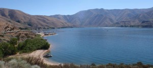 Approaching the boat ramps at Spring Shores at Lucky Peak reservoir; it cost 5 dollars to park and another $5 to launch the boat.