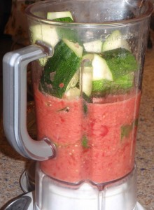 The first blender method was the same one he had used for the zucchini tomato soup the night before.