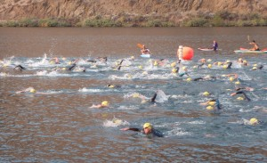 The start of the women's Olympic distance swim for Emmetts Most Excellent Triathlon 2013 in Black Canyon Reservoir