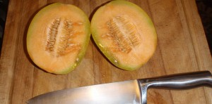 perfect cantaloupe - cut for fresh eating this time