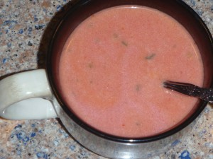 Easy cream of tomato soup is made perfect with a touch of sugar.