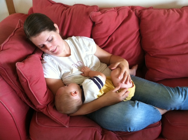 Try to learn to take advantage of nursing your baby as a time to rest.