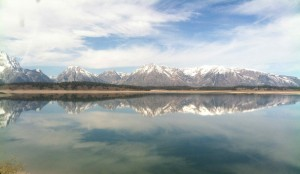 Magically pristine view of the Tetons on Jackson Lake
