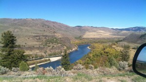 The road crosses over the Snake River several times on the way to Jackson.