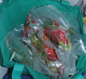 reusable grocery bags make handy freezer compartments