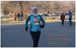 I finish my 2 mile leg of the Boise Y-Striders Turkey Trot 2013