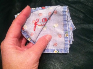 Easy to sew personalized cotton handkerchief - this is one that I hemmed by hand. I use hankies a lot because they make me sneeze less than paper tissue. They are also easier on an irritated nose.