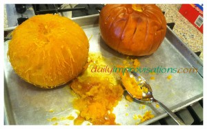 How well a hot pumpkin peels depends on cooking it the right amount for its size.