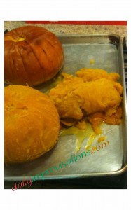 Here is what the mushy pumpkin looked like right after cooking -