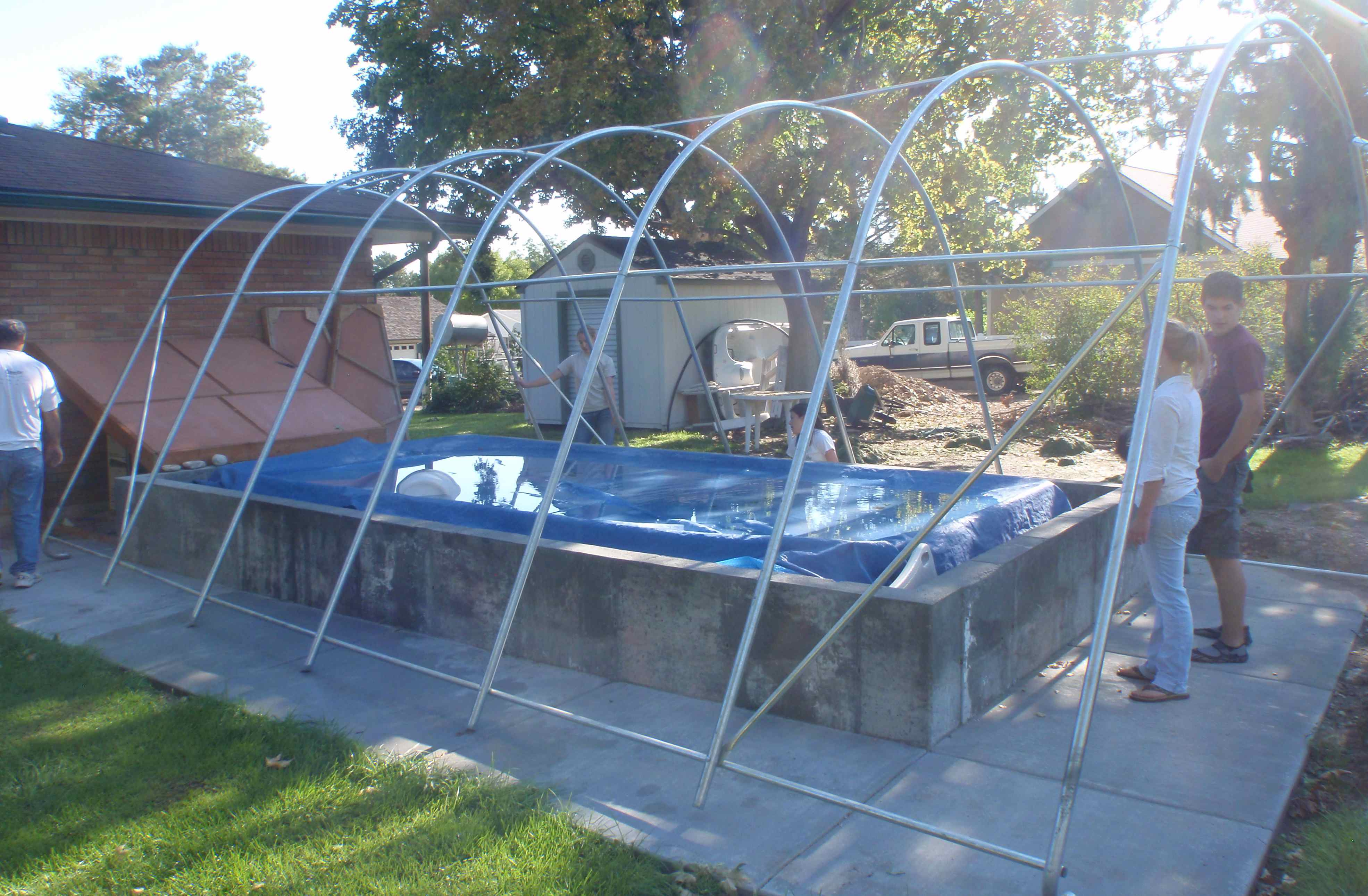 The Frame Of Our Portable Instant Garage Now Swimming Pool Cover Has Just Been
