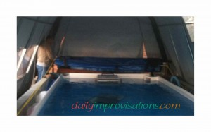Here is the DIY retractable swimming pool cover all rolled up.