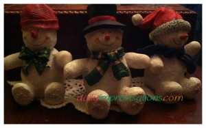 Cheerful snowmen are part of my Christmas celebration decorations.