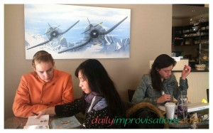 Studying Chinese in a comfy corner of the AeroCaffe in internet cafe in Boise.