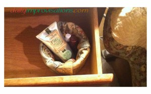PVC pipe lined fabric basket in drawer.