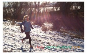 My feet stayed pink and warm during my first ever 0.4 mile barefoot run in the snow.