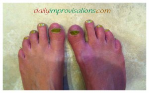 We were encouraged to be festive in green for the Shamrock Shuffle 2014. My best option was green toenail polish.