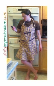 Here is my daughter modeling the finished apron for me.