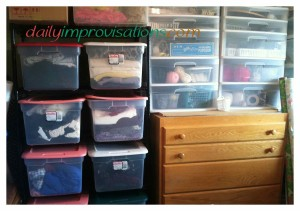 Clear sided bins, plastic stacks of drawers and cast-ff dressers can all be used to organize the sewing room.
