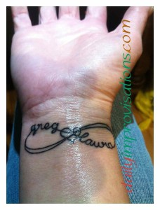 My tattoo is an infinity symbol with heart center and my husband's and my names. It looked good 2 days after I got it.