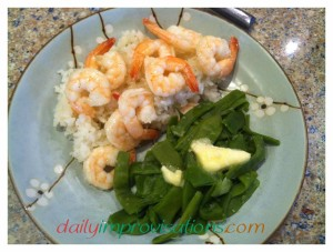 Served in one of my fun bowls that I brought back from Taiwan, but eaten in the comfort of my own home, it was a simple but special shrimp dinner. Not all that much clean-up needed either!