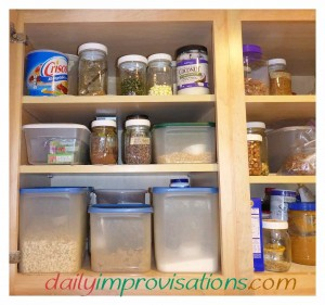 A clean and organized kitchen cupboard will make cooking much easier.