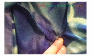 What the front point of the flounce looked like from the inside, when I held the fabric from bunching up.